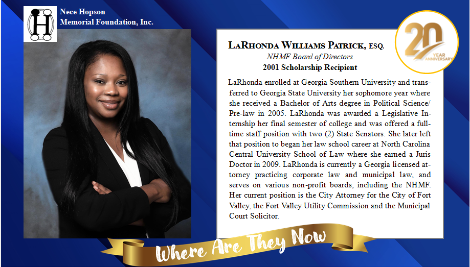 Where are they now? NHMF Event - LaRhonda Williams Patrick, ESQ.