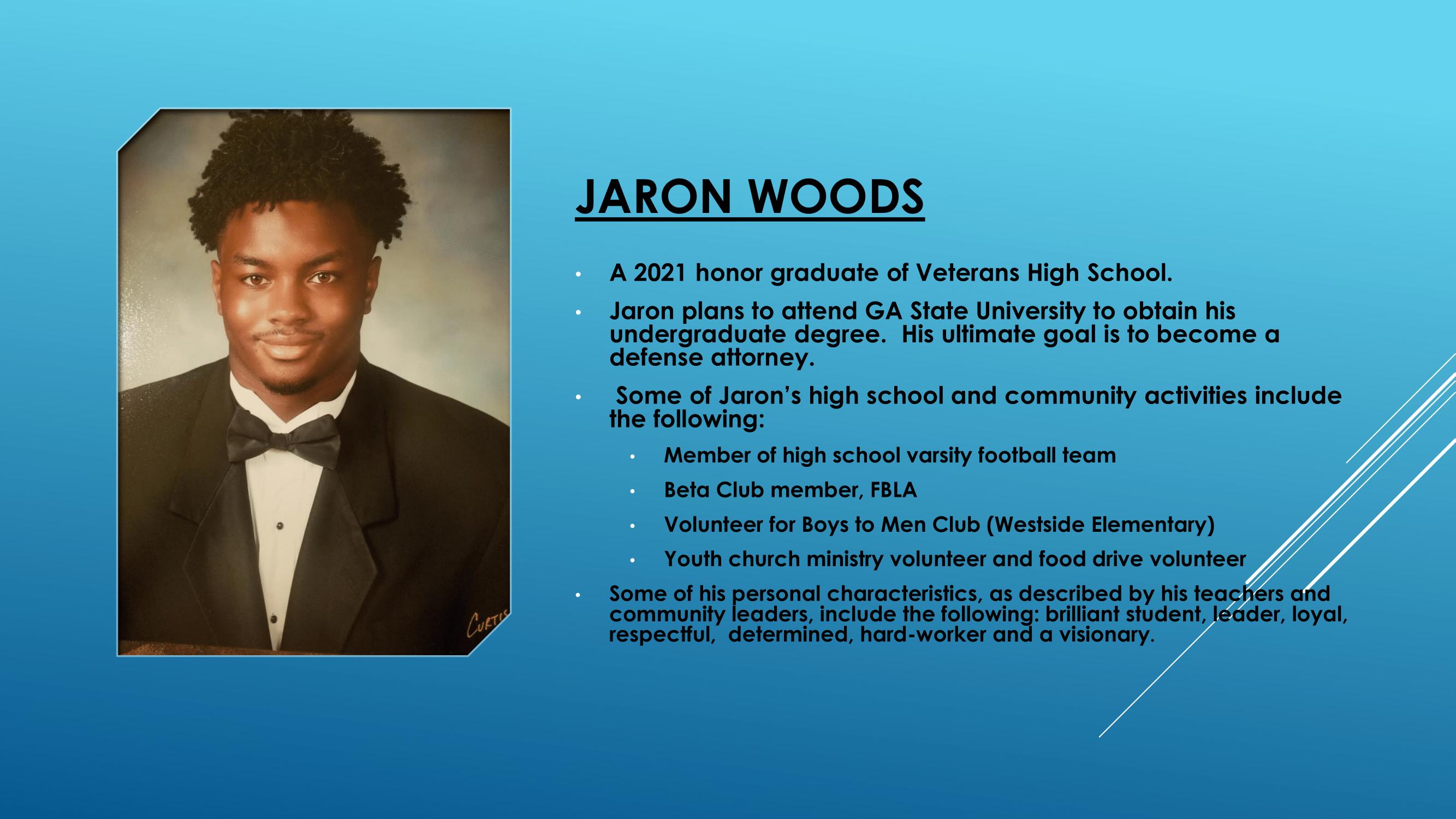 Nece Hopson Memorial Foundation  (NHMF) scholarship 2021 Recipient Jaron Woods