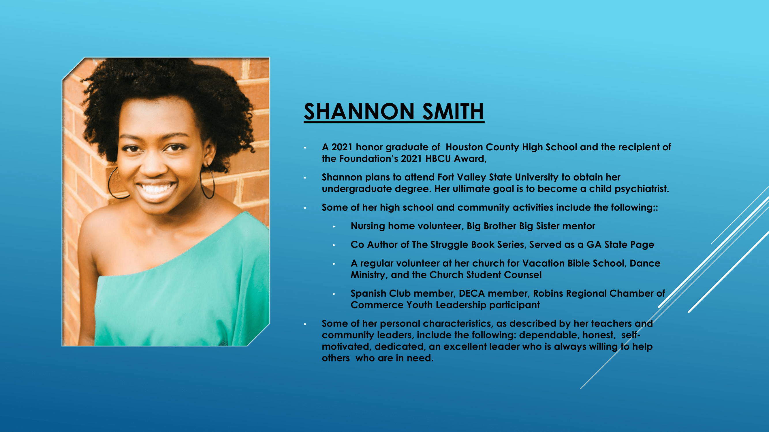 Nece Hopson Memorial Foundation  (NHMF) scholarship 2021 Recipient Shannon Smith