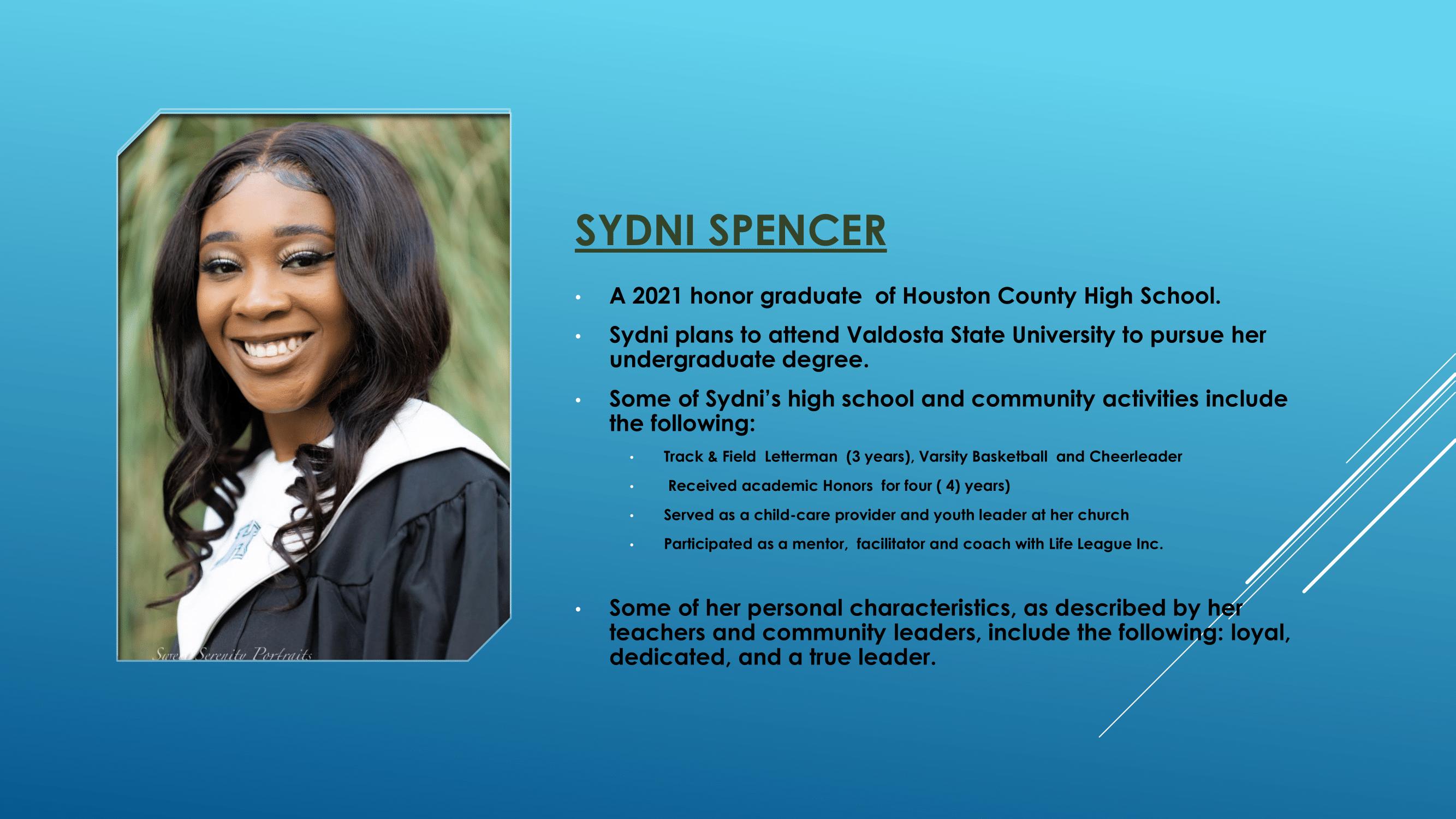 Nece Hopson Memorial Foundation  (NHMF) scholarship 2021 Recipient Sydni Spencer